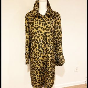 Dennis Basso Silk Leopard Print Lined Trench Coat